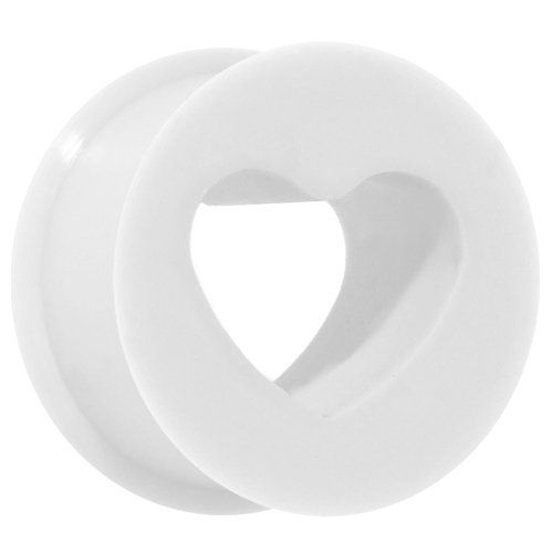 00 Gauge White Heart Silicone Flexible Tunnel