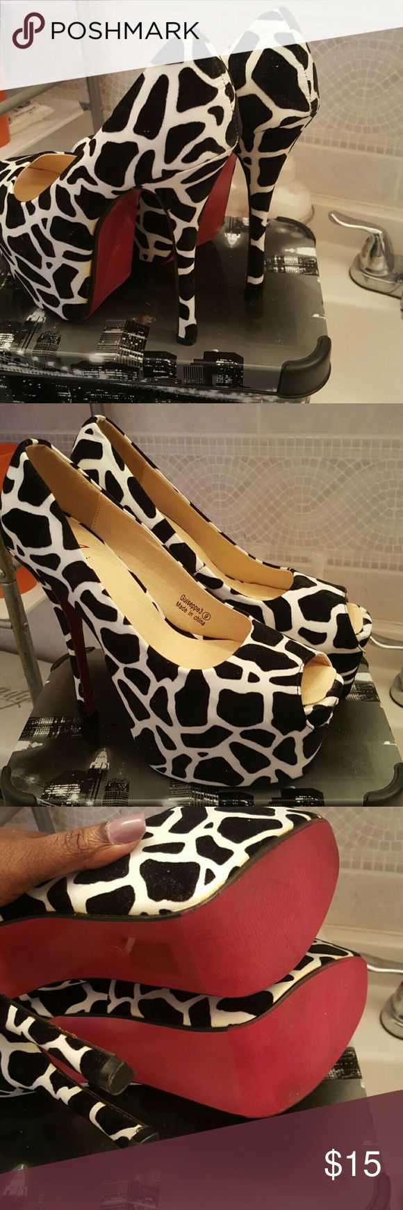 Black and white high heel shoes Cute black and white high heel shoes with pink bottom Shoes Heels