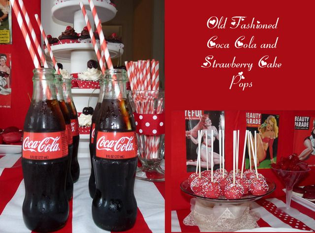 bachelorette party with bottled Cokes, striped straws, and strawberry cake pops.