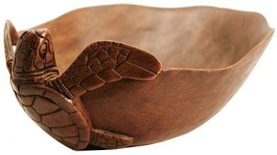 Hawaiian carved monkeypod bowl, with a honu (turtle)