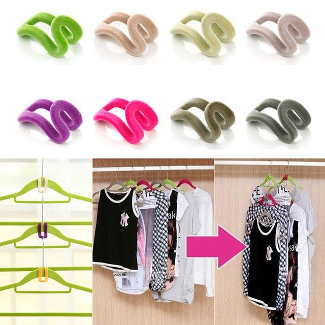 Random Colors!!! 10 pcs Home Creative Mini Flocking Clothes Hanger Easy Hook Closet Organizer