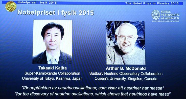 Nobel Prize in physics goes to Takaaki Kajita and Arthur B. McDonald for work on neutrinos
