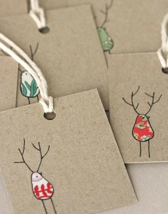 old fabric scrap gift tags