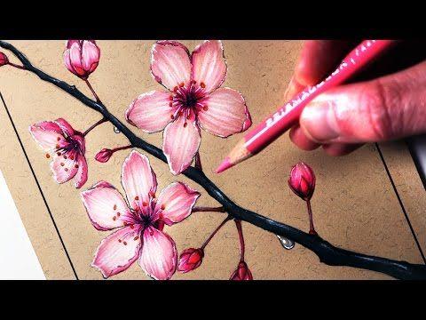 How to draw and paint a tree with a Water soluble pencil - YouTube