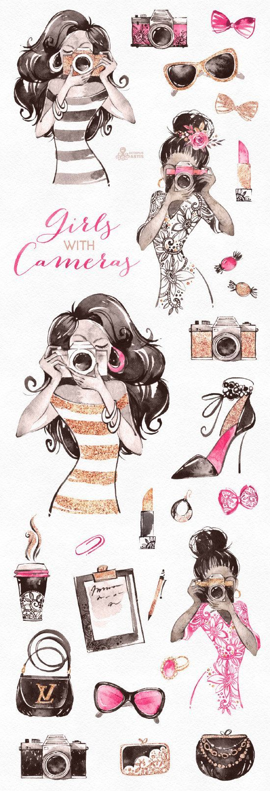 Girls With Cameras. Watercolor Clipart, photograph…
