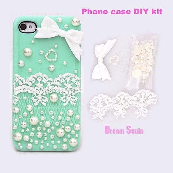 Phone Case DIY kitswhite bowknot lace pearl cover by DreamSupin, $3.30
