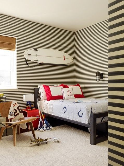 """Like the idea of Horizontal stripes! THIS is such a GREAT IDEA & is a newer, more modern take on the old version of vertical striped walls (which was usually wallpaper w/ thinner stripes). It ADDS ALOT of """"DESIGN"""" to your room w/ only using paint! Hence, THIS saves you BIG money & gives you alot of BANG for your BUCK! Great for any room- especially bedroom or bathroom!"""