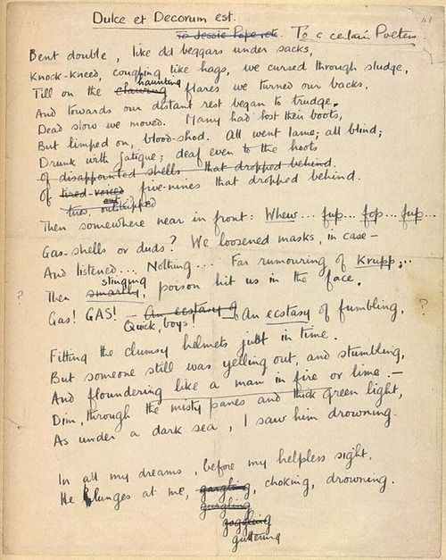 dulce et decorum est reaction to Poems the poems dulce et decorum est, the send-off and anthem for doomed  youth were all written by wilfred owen in response to his experience in wwi.