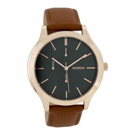 OOZOO Timepieces Cognac/Groen horloge C8371 (45 mm) - Horloges