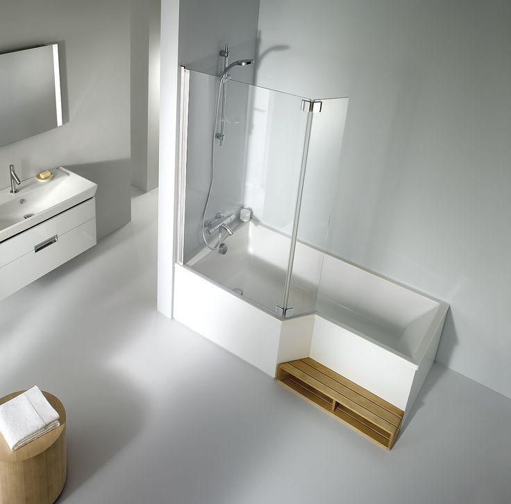 Découvrez cette baignoire deux en un, à la fois baignoire et douche. À choisir selon ses besoins en version droite ou gauche.