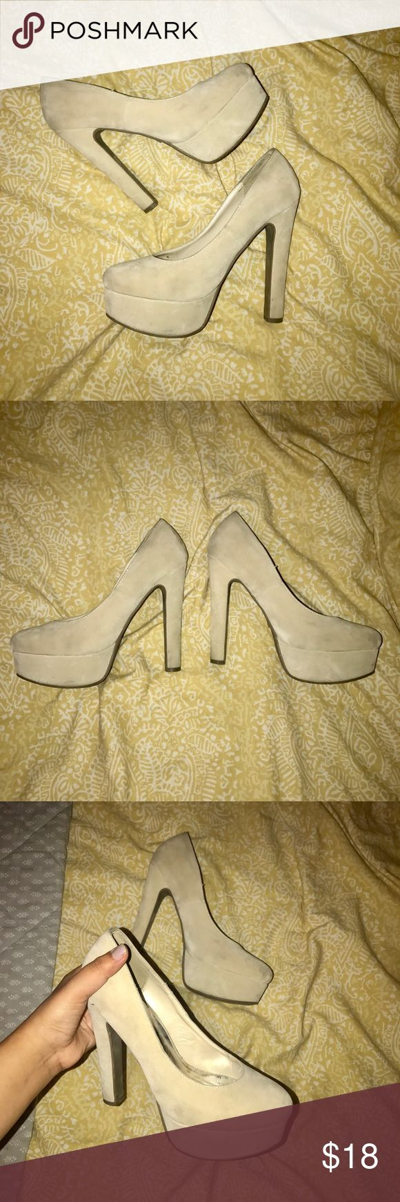 Tan Bold-Statement Stilettos Bring the sexy side out with these pretty heels!! Although between 4-5 inches still quite comfy. Has a tiny stain but not that noticeable. Soft suede material. Great condition! Worn about twice Lady Luxe Shoes Heels