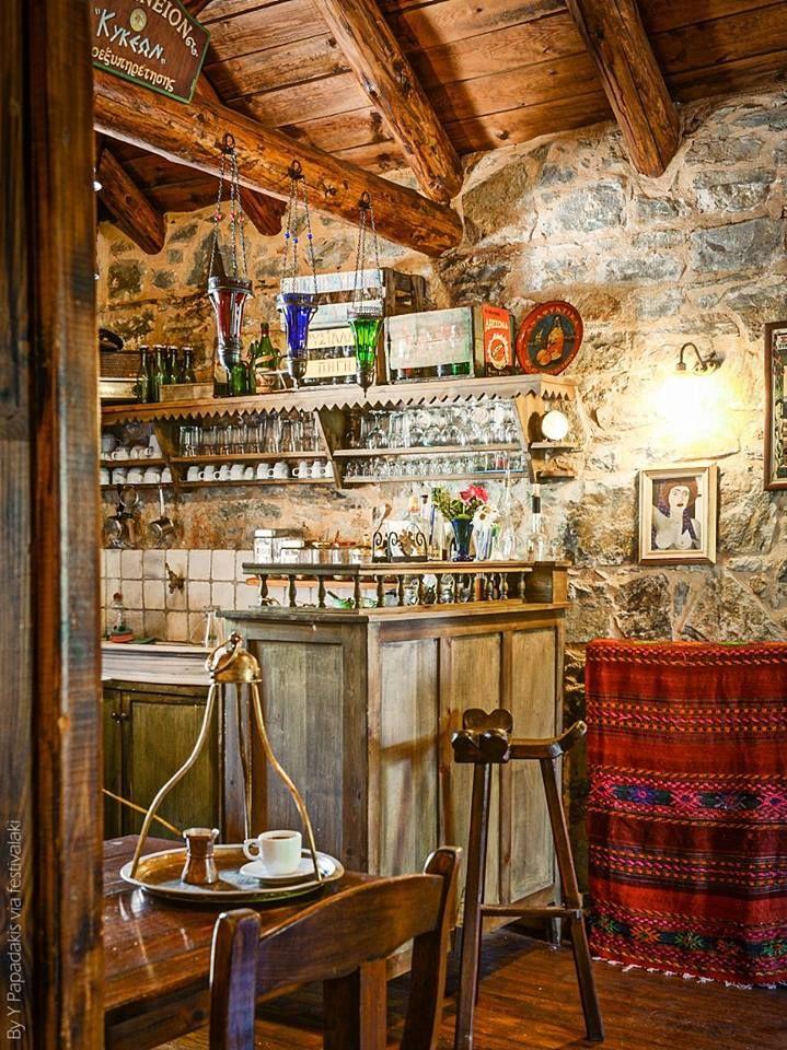 Warm and cozy traditional greek coffee shop