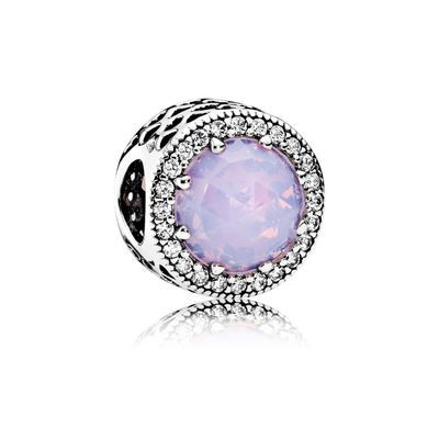 Opalescent Pink Radiant Hearts Charm