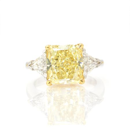 Dream Ring - Fancy Yellow Cushion Cut Diamond with Trillion Cut Diamonds on Each Side