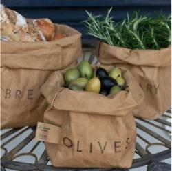 Fresh food in paper bags.