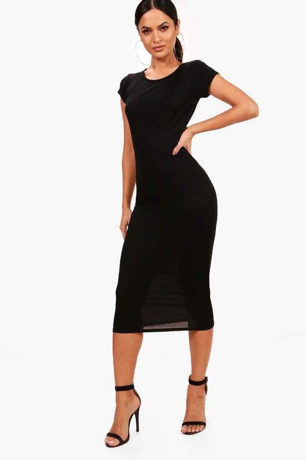 207994415d boohoo Cap Sleeve Jersey Bodycon Midi Dress