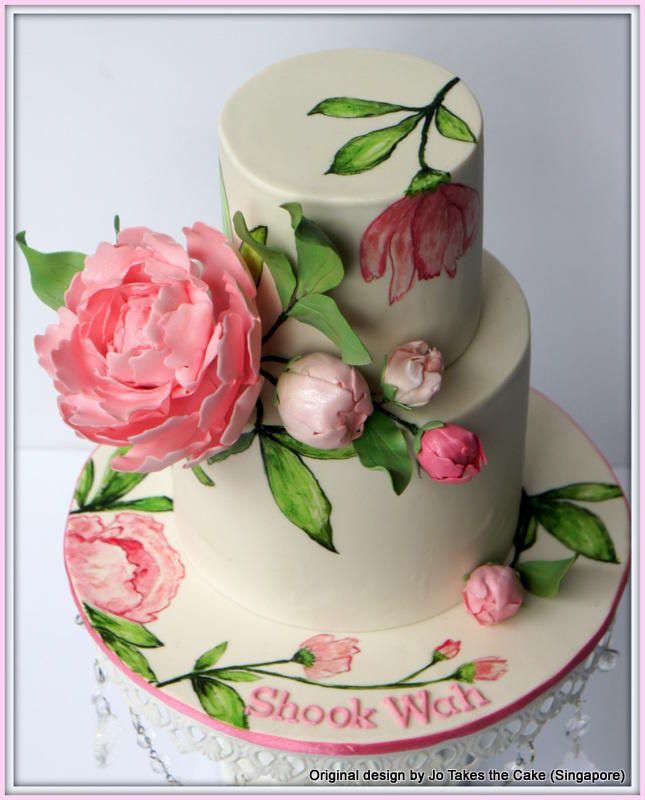 Hand painted peony - Cake by JoTakestheCake