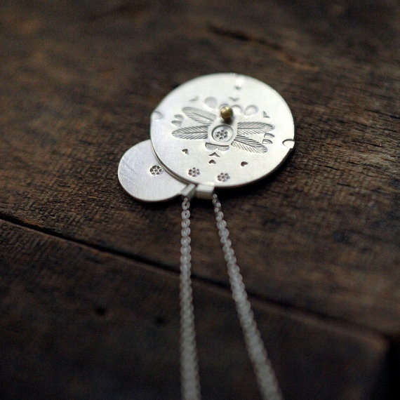 Dragonfly silver coin pendants with a dot of gold by Minicyn, €95.00