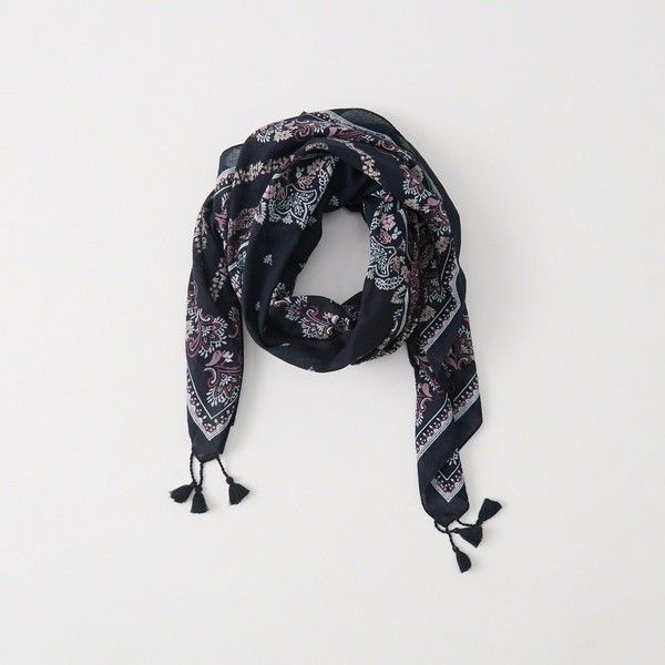 Abercrombie & Fitch Printed Square Scarf ($34) ❤ liked on Polyvore featuring accessories, scarves, navy pattern, patterned scarves, navy scarves, square scarves, square shawl and navy shawl