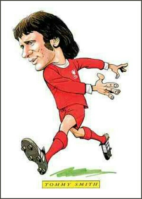 Tommy Smith of Liverpool in cartoon mode.