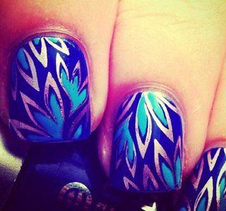 : Peacock Feathers, Nails Art, Nailart, Nails Design, Nailsart, Nailpolish, Nails Polish, Nail Design, Blue Nails