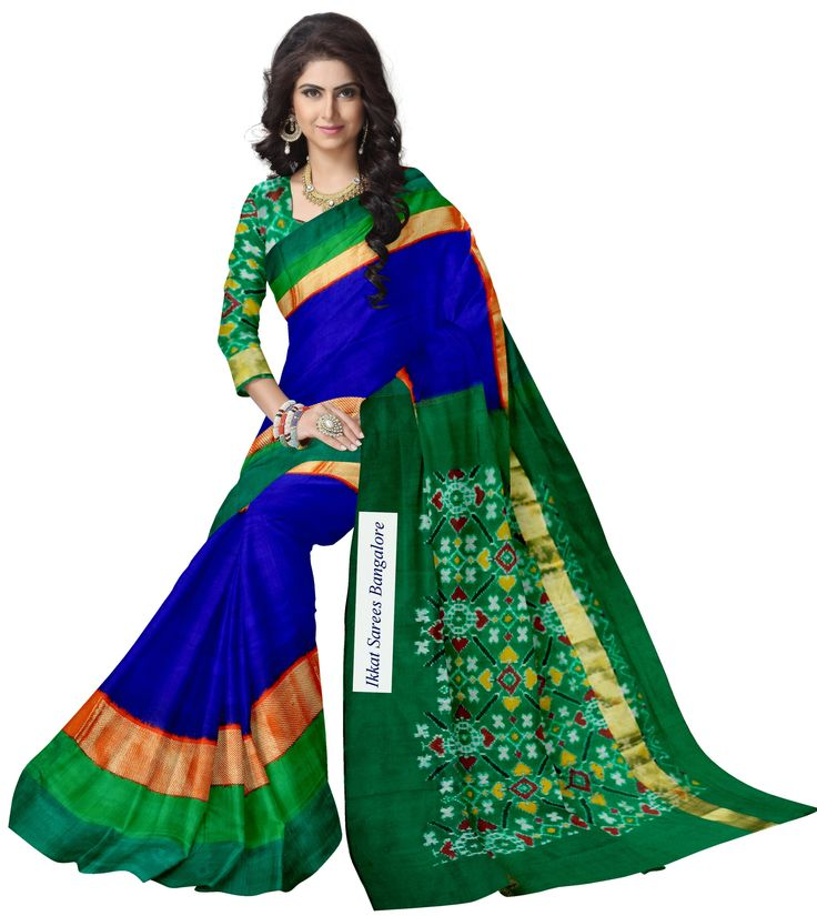 Gorgeous handwoven Ikat silk saree in blue with striking dobby weave zari border and rich contrast patola pallu & blouse in green. Code: ISB5285 www.facebook.com/ikkatsareesbangalore Contact +918792177606
