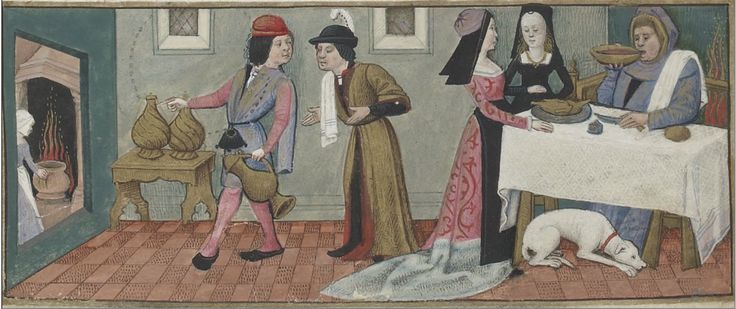 Dinner at home. Lower border, January. Calendar in the Hours of Charles d'Angoulême (Use of Paris), c. 1475-1500. BnF MS Latin 1173, fol. 1r. Bibliothèque nationale, Paris