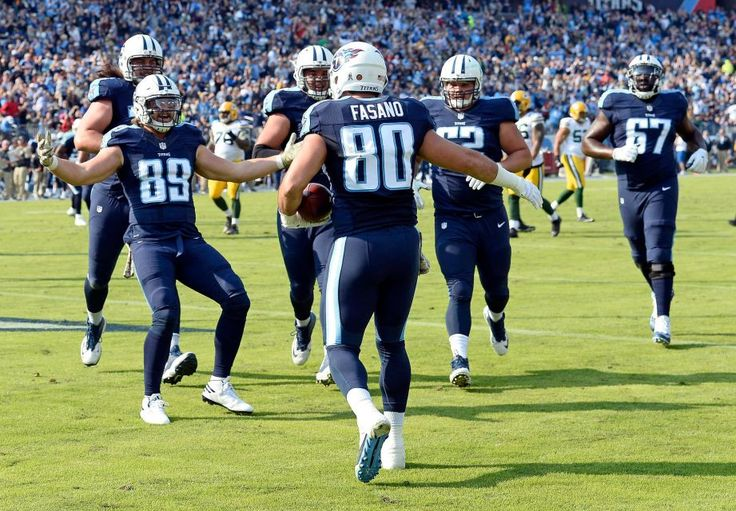 Packers vs. Titans:  47-25, Titans  -  November 13, 2016  -      Tennessee Titans tight end Anthony Fasano (80) celebrates with teammates after catching a 9-yard touchdown pass against the Green Bay Packers in the first half of an NFL football game Sunday, Nov. 13, 2016, in Nashville, Tenn.