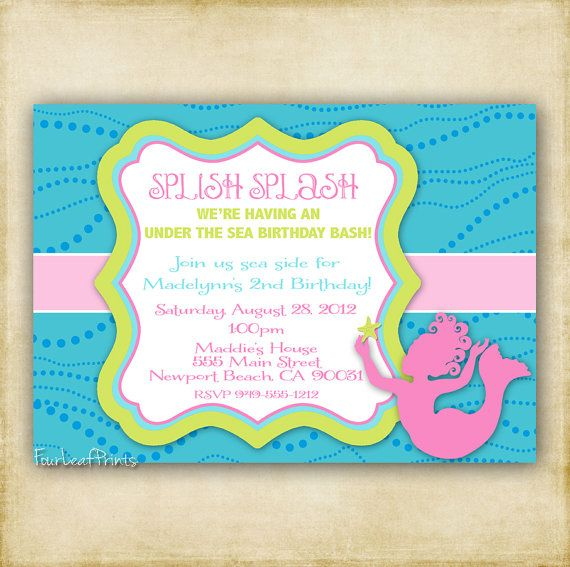 Invite ideas --Little Girl Mermaid Silhouette  Baby Shower by FourLeafPrints, $13.00