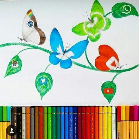 Instagram, Twitter, WhatsApp & YouTube [as butterflies] (Drawing by Unknown) #SocialMedia