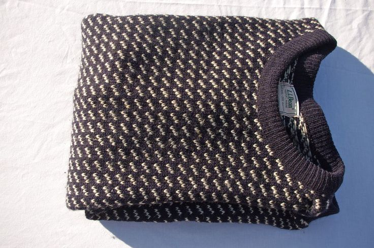VTG 2XL LL BEAN MEN'S Birdseye NORWAY Blue White Wool Sweater CLASSIC PREPPY VGU #LLBean #Crewneck