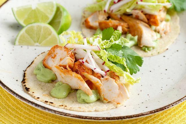 Spicy fish tacos with avocado yogurt sauce recipe for Sauces for fish tacos