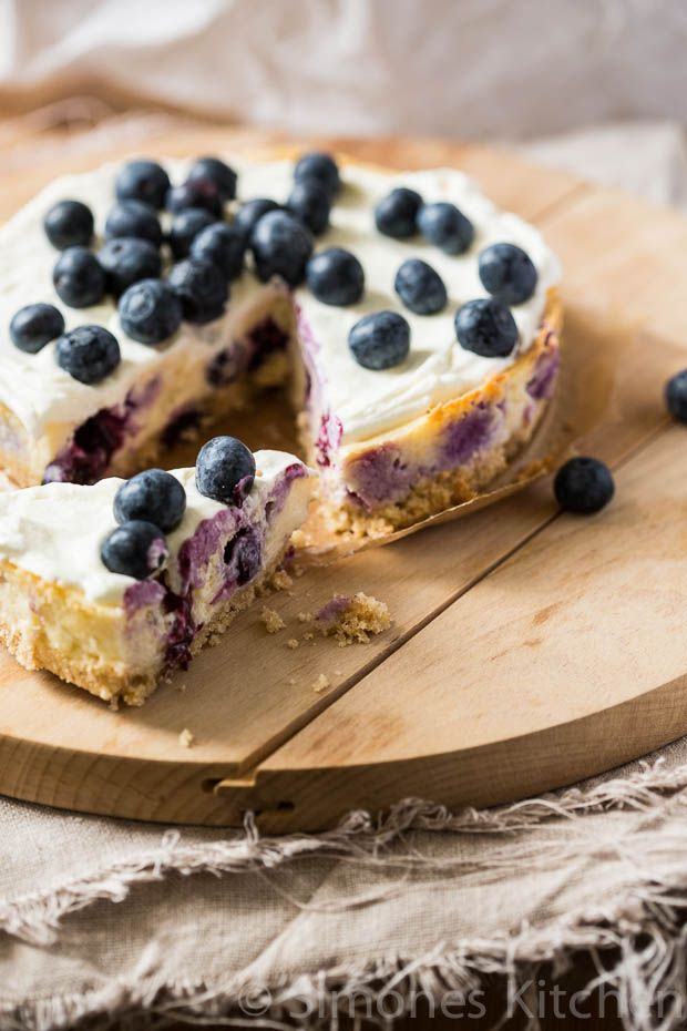Cheesecake met Blauwe Bessen.
