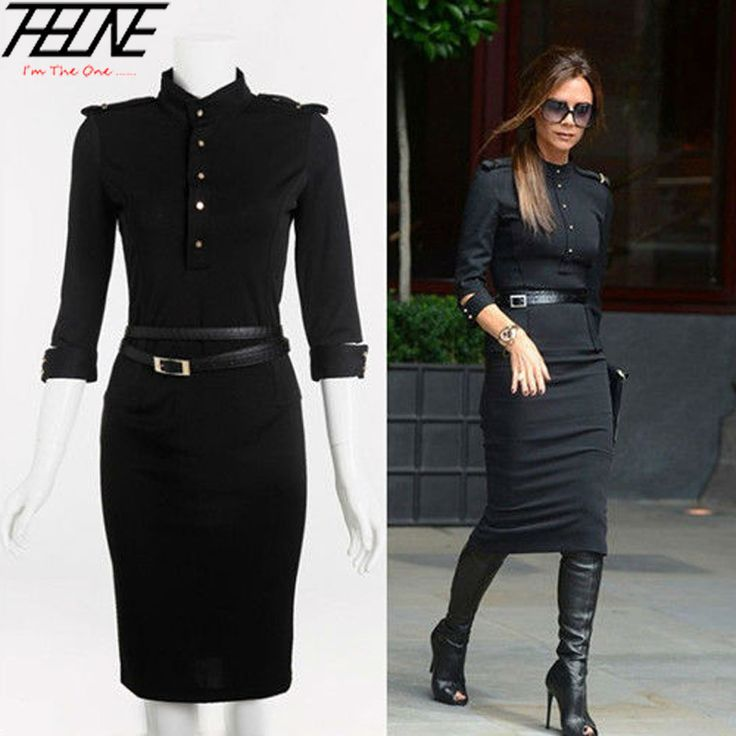 Cheap dress monkey, Buy Quality dress shaw directly from China dresses kohls Suppliers:  2014 New Stand-Up Collar 3/4 Sleeve Slim Fit Belted Pencil Dress Sashes Skinny Slim Bodycon Victoria Beckham Dresses