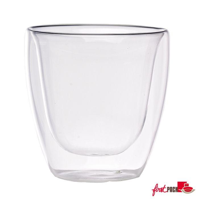 Mini verre borosilicate double paroi.   Beau et ultra transparent. Résistant aux températures du congélateur et du four (130°)