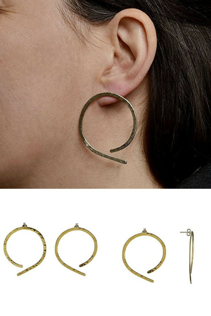 Handmade medium size open thin hoops made of hammered brass with sterling silver posts and clasps.