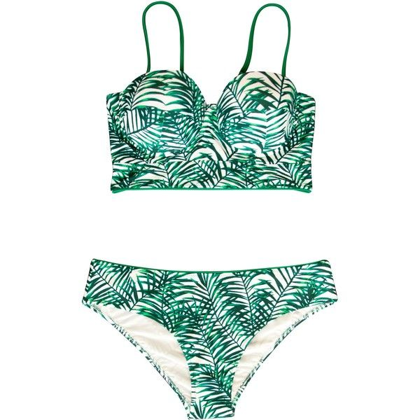 Karine Lecchi Bianca Palmtrees Print Retro Longline Bikini ($74) ❤ liked on Polyvore featuring swimwear, bikinis, green, bikini bathing suits, two piece swimsuits, 2 piece bathing suits, swimsuits two piece and green swimsuit