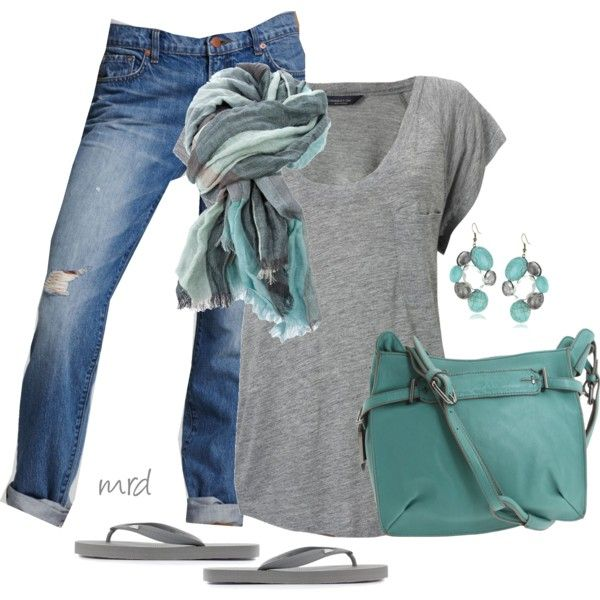 Gray and Teal. I live in this outfit but need the purse and flip flops (mine are white)
