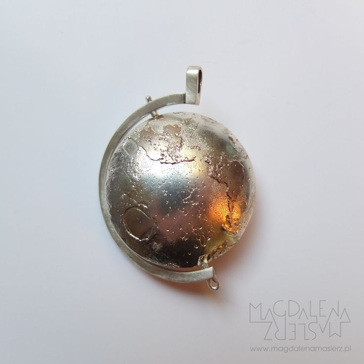 magdalena maślerz - sterling silver and etched copper globe pendant. the work was exposed on 2015 beijing international metal&jewellery art exhibition BIC-MAJA (beijing world art museum, china). 2015