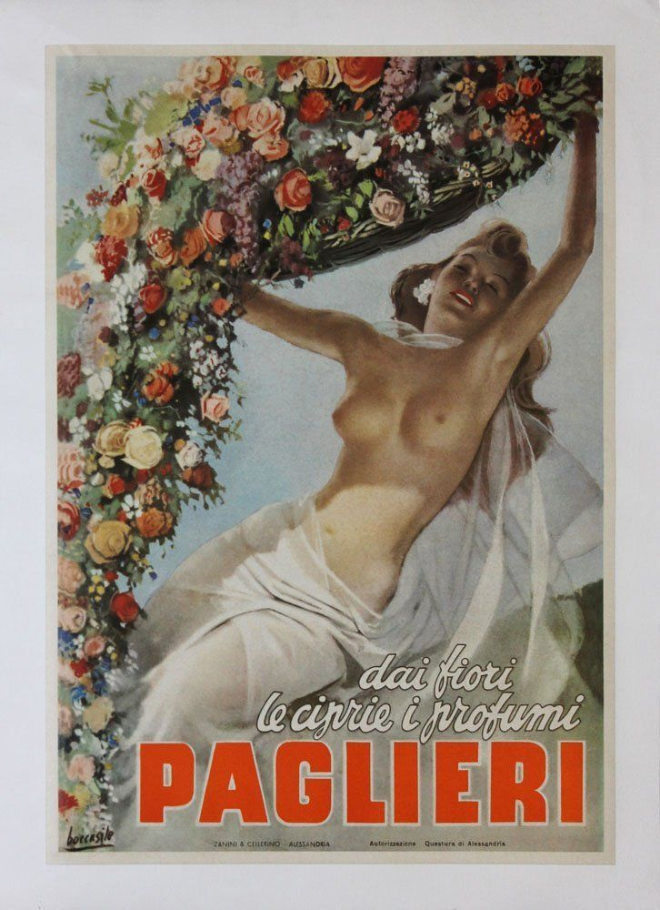 "Gino Boccasile Title: Paglieri Year: 1949 Medium: Original vintage lithographic poster, canvas backed Edition: From the limited edition Printer: Zanini & Cellerino Size: 19"" x 13 1/4"" Signature: Signed in the plate"