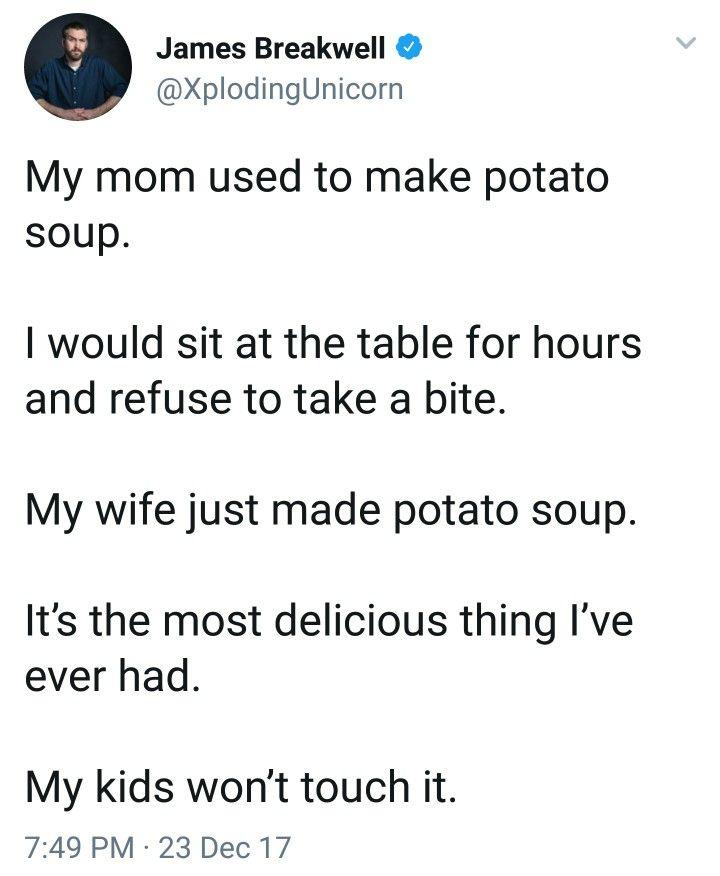 James Breakwell Xploding Unicorn potato soup