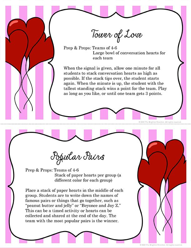 Valentine's Day Activities are great for team building and as party games. 10 activities are printed on colorful task cards, and also includes 7 pages with letter cutouts that can be used with one of the activities. These are perfect for February fun and Valentine's Day parties!