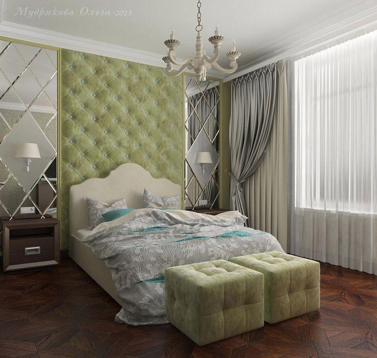 Дизайн спальни в современном стиле с мягкими панелями в СПб