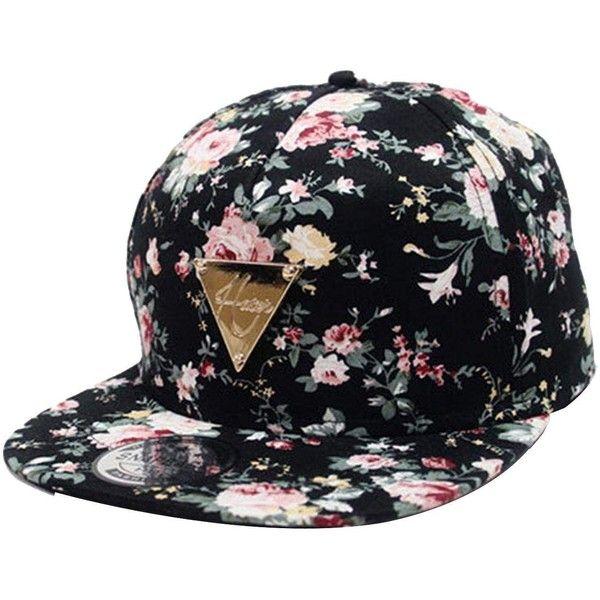 Zeagoo Floral Flower Snapback Hip-Hop Hat Flat Peaked Adjustable... ($20) ❤ liked on Polyvore