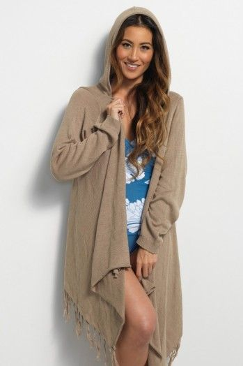 Tan Hooded Swim Cover-Up