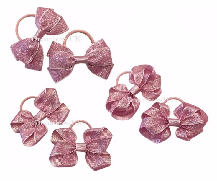 Baby pink glitter hair bows, thick hair bobbles, girls glitter hair accessories #DreambowsUK