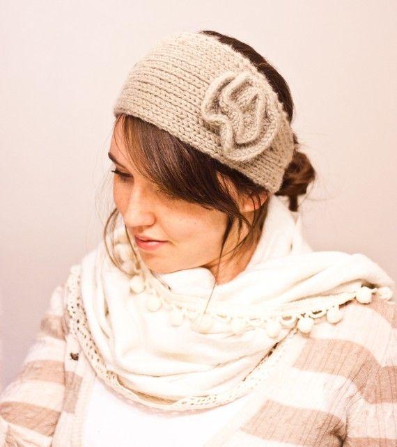 PATTERN Strictly Knit Flower Headband Earwarmer (knit pattern PDF)