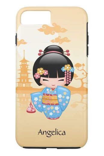 Maiko Kokeshi Doll, Japanese Chibi Geisha Girl, Cute iPhone 8/7 Plus Case. #cute #chibi #iphone #cases #plus