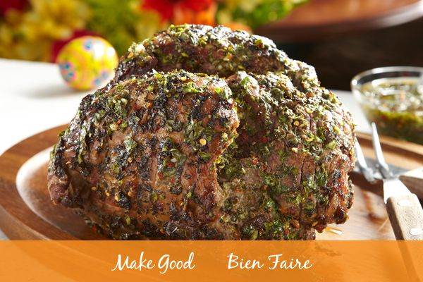 What's your favourite Easter main to serve? Our Lamb Roast with Chimichurri is a traditional favourite with a fresh and flavourful twist! Impress your guests with this recipe!  #makegood #recipe #Easter #chef #foodie #food #dinner #recipes #easyrecipes #delicious #holiday #cooking