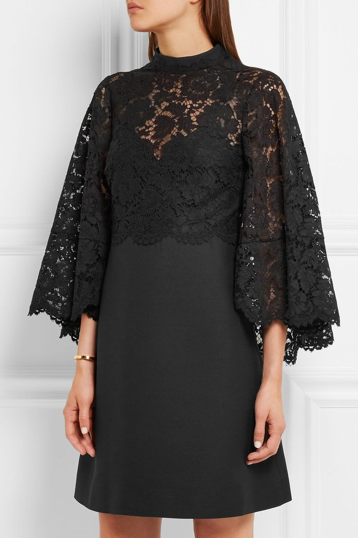 Valentino | Cape-back corded lace and wool and silk-blend mini dress | NET-A-PORTER.COM
